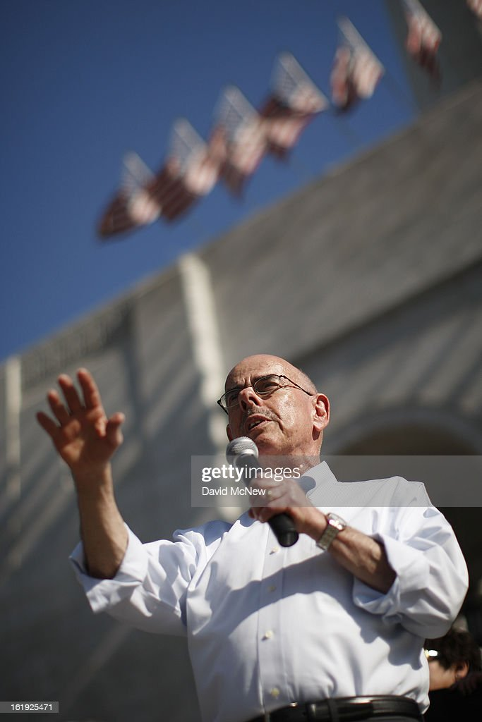 Rep. Henry Waxman (D-Calif.) speaks on the steps of City Hall during the 'Forward on Climate' rally to call on President Obama to take strong action on the climate crisis on February 17, 2013 in Los Angeles, California. Organizers say the rally, which is led by Tar Sands Action Southern California and Sierra Club, is composed of a coalition of over 90 groups and coincides with similar rallies in Washington D.C. and other U.S. cities.