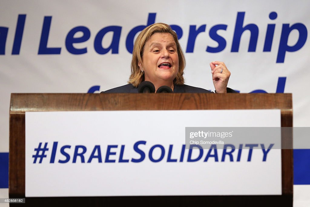 Rep. <a gi-track='captionPersonalityLinkClicked' href=/galleries/search?phrase=Ileana+Ros-Lehtinen&family=editorial&specificpeople=588095 ng-click='$event.stopPropagation()'>Ileana Ros-Lehtinen</a> (R-FL) addresses Jewish organizational and community leaders during the 'National Leadership Assembly for Israel' at the National Press Club July 28, 2014 in Washington, DC. Organized by the Conference of Presidents of Major American Jewish Organizations, the event was addressed by Obama Administration officials and both Republican and Democratic members of Congress who attended the rally as a 'show of solidarity with the people and state of Israel.' Despite international calls for a ceasefire, Israel and Hamas continue to battle in and around the Gaza Strip, where 1,000 people have been killed since the violence started 21 days ago.