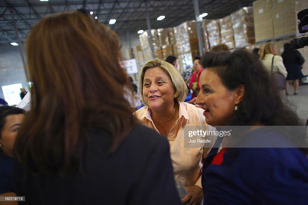 Rep. <a gi-track='captionPersonalityLinkClicked' href=/galleries/search?phrase=Ileana+Ros-Lehtinen&family=editorial&specificpeople=588095 ng-click='$event.stopPropagation()'>Ileana Ros-Lehtinen</a> (R-FL) greets people during the Women for Mitt kick-off of a 'Stronger Middle Class' Bus Tour of South Florida on September 17, 2012 in Miami, Florida. The bus tour is scheduled to stop at events at women-owned businesses in Miami, Ft. Lauderdale, and Boca Raton as the Romney campaign tries to gather more support from women.