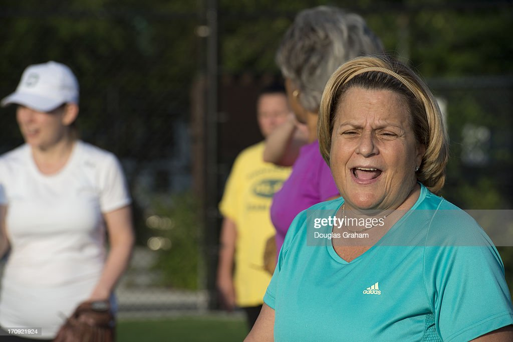 Rep. Ileana Ros-Lehtinen, R-FL., during the practice for the Congressional Womens Softball Game at Watkins Elementary in Washington, D. C. on June 20, 2013. The bi-partisan group of women Members of Congress take the field against the the women of the DC Press Corps to raise funds and awareness for young women with breast cancer and will be played on Wednesday, June 26, 2013.