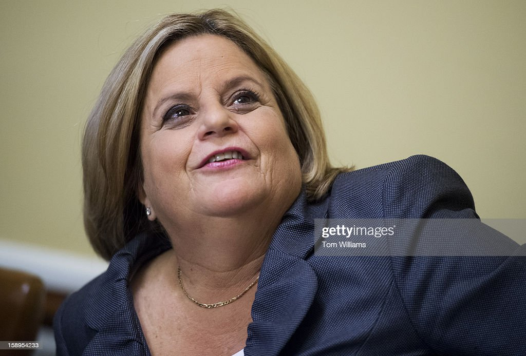 Rep. Ileana Ros-Lehtinen, R-Fla., appears on the dais of the first House Rules Committee hearing of the 113th Congress in the Capitol.