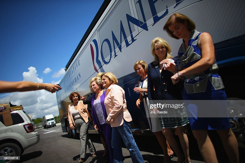 Rep. Ileana Ros-Lehtinen (R-FL) (C) stands with Remedios Diaz-Oliver (2nd L), the owner of American Containers, and other women during the Women for Mitt kick-off of a 'Stronger Middle Class' Bus Tour of South Florida on September 17, 2012 in Miami, Florida. The bus tour is scheduled to stop at events at women-owned businesses in Miami, Ft. Lauderdale, and Boca Raton as the Romney campaign tries to gather more support from women.