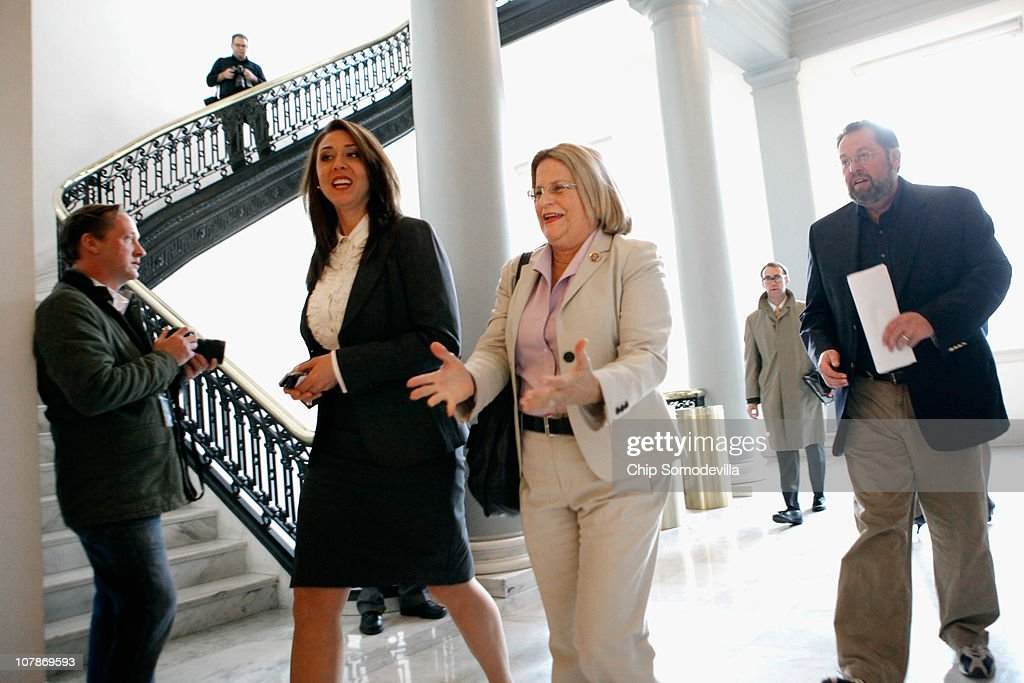 Rep. Ileana Ross-Lehtinen (R-FL) (C) arrives for a House Republican caucus meeting in the Canon House Office Building January 4, 2011 in Washington, DC. Ros-Lehtinen will be the chair of the Foreign Affairs Committee after the Republicans take control of the House Wednesday.