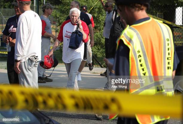 S Rep Jack Bergman leaves the scene of this morning's shooting at Eugene Simpson Stadium Park June 14 2017 in Alexandria Virginia US House Majority...