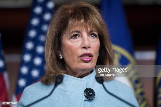 Rep Jackie Speier DCalif holds a news conference in the Capitol Visitor Center to introduce legislation that aims to address and prevent sexual...