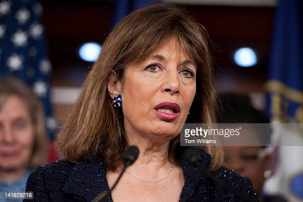 Rep Jackie Speier DCalif speaks at a news conference on the anniversary of the Affordable Care Act to discuss the benefits the law has had for...