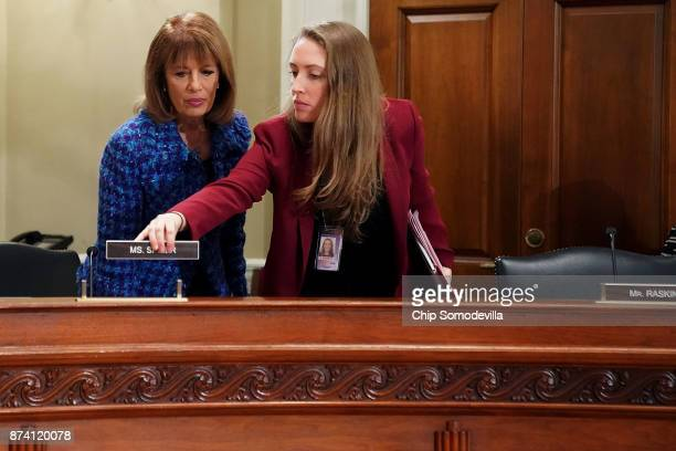 Rep Jackie Speier takes her place at the dias with the House Administration Committee in the Longworth House Office Building on Capitol Hill November...