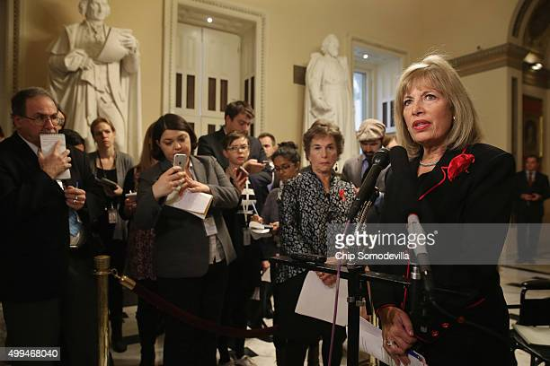 Rep Jackie Speier talks to reporters during a news conference in the US Capitol December 1 2015 in Washington DC Speier and fellow Democrats were...