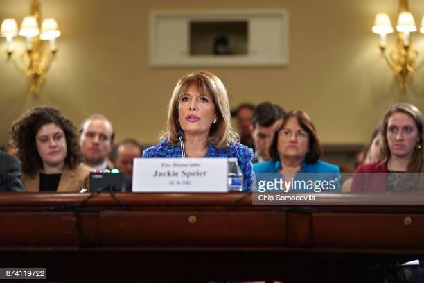 Rep Jackie Speier testifies before the House Administration Committee in the Longworth House Office Building on Capitol Hill November 14 2017 in...