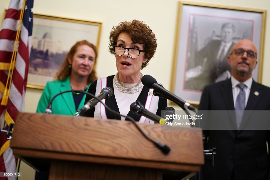 Rep. Jacky Rosen (D-NV) speaks during a news conference with Rep. Elizabeth Esty (D-CT) (L) and Rep. Ted Deutch (D-FL) while introducing the 'Keeping Americans Safe Act' in the Cannon House Office Building on Capitol Hill October 12, 2017 in Washington, DC. Joined by representatives from gun safety groups, the Democrats said their proposed legislation would prohibit the 'transfer, importation, or possession of magazines able to hold more than 10 rounds of ammunition.'