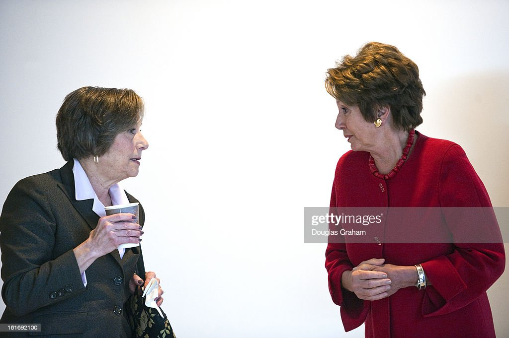 Rep. Jan Schakowsky, D-IL., and House Minority Leader Nancy Pelosi, D-Calif., talk in the hallways of the Capitol Visitors Center in the U.S. Capitol on February 14, 2013.