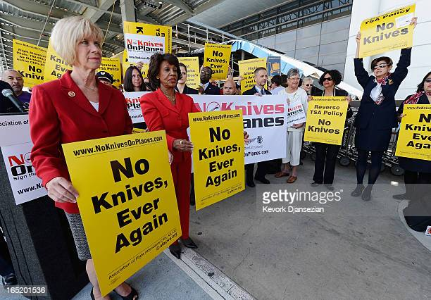 S Rep Janice Hahn and US Rep Maxine Waters protest in front of Tom Bradley International terminal in opposition to the FAA's recent decision to start...