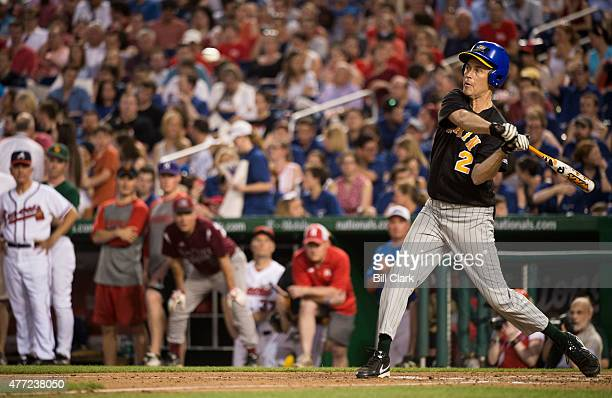 Rep Jared Huffman DCalif bats during the 54th Annual Roll Call Congressional Baseball Game at Nationals Park in Washington on Thursday June 11 2015...