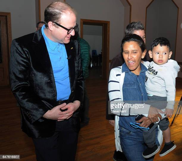 S Rep Jared Polis met with Jeanette Vizguerra holding grandson Santiago Tabulla at the First Unitarian Church Wednesday March 3 2017 Vizguerra took...
