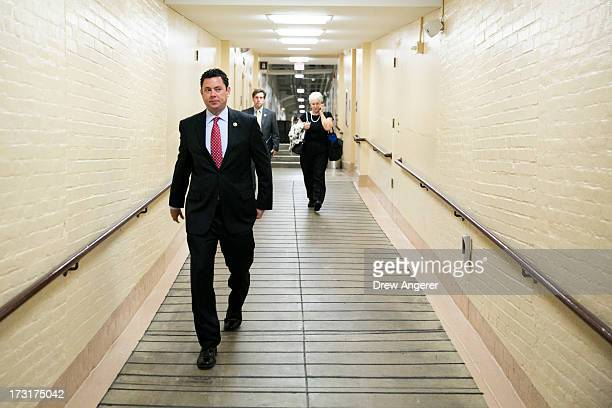 S Rep Jason Chaffetz makes his way to a House GOP caucus meeting on Capitol Hill July 9 2013 in Washington DC The Republican leadership discussed the...
