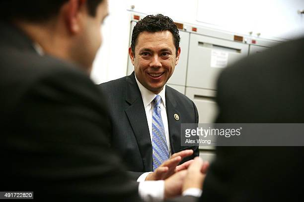 Rep Jason Chaffetz meets with visitors in his office October 7 2015 on Capitol Hill in Washington DC Rep Chaffetz is running in the race to succeed...