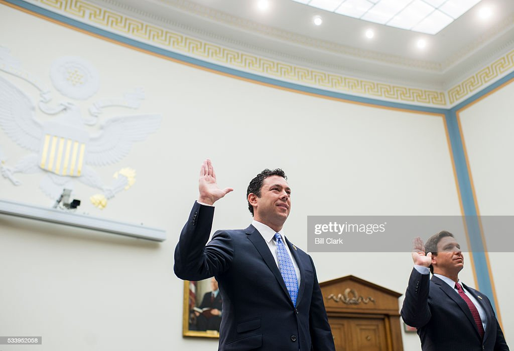 Rep. Jason Chaffetz, R-Utah, left, and Rep. Ron DeSantis, R-Fla., take the oath before testifying during the House Judiciary Committee hearing on 'Examining the Allegations of Misconduct Against IRS Commissioner John Koskinen, Part 1' on Tuesday, May 24, 2016.