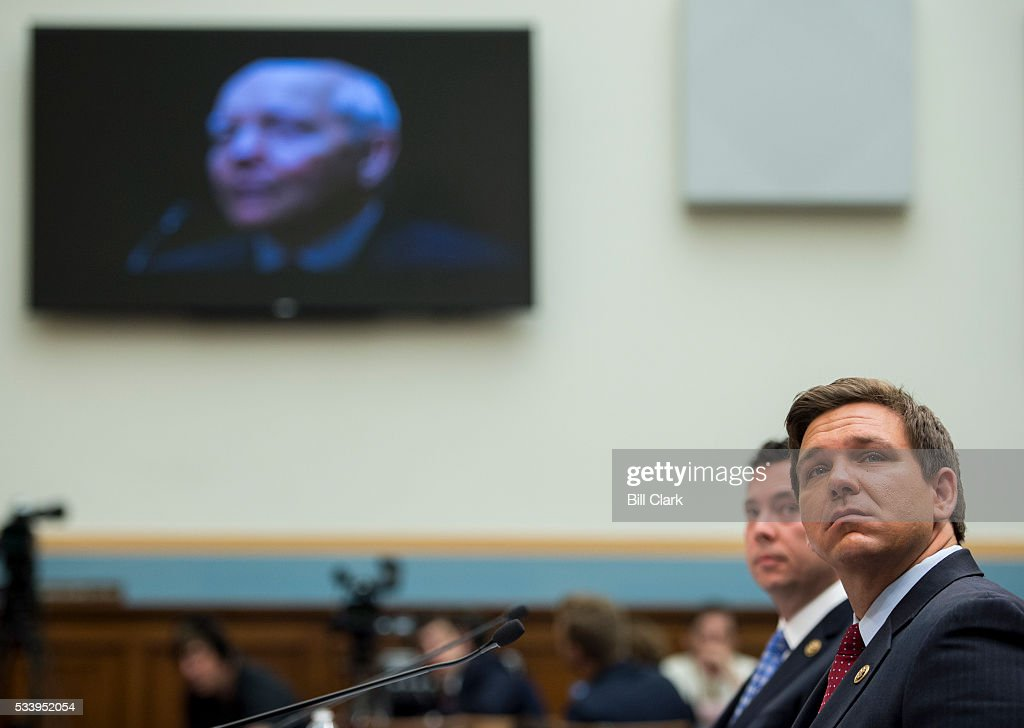 Rep. Jason Chaffetz, R-Utah, left, and Rep. Ron DeSantis, R-Fla., watch a video on the IRS as they testify during the House Judiciary Committee hearing on 'Examining the Allegations of Misconduct Against IRS Commissioner John Koskinen, Part 1' on Tuesday, May 24, 2016.