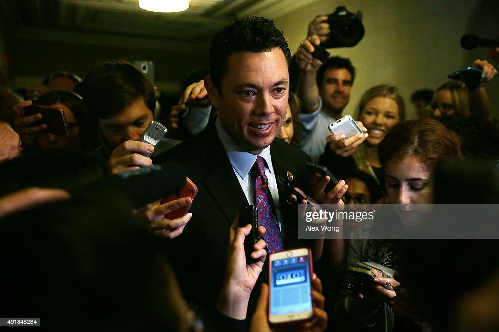 U.S. Rep. <a gi-track='captionPersonalityLinkClicked' href=/galleries/search?phrase=Jason+Chaffetz&family=editorial&specificpeople=5610304 ng-click='$event.stopPropagation()'>Jason Chaffetz</a> (R-UT), surrounded by members of the media, leaves after a closed House Republican election meeting to pick the next GOP House Speaker nominee October 8, 2015 on Capitol Hill in Washington, DC. House Majoirty Leader Rep. Kevin McCarthy (R-CA) has dropped out of the race for Speaker of the House.