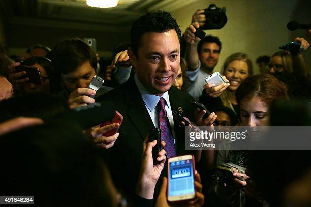 S Rep Jason Chaffetz surrounded by members of the media leaves after a closed House Republican election meeting to pick the next GOP House Speaker...