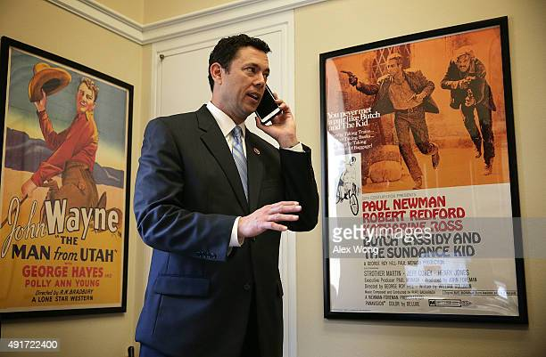 Rep Jason Chaffetz talks on the phone in his office October 7 2015 on Capitol Hill in Washington DC Rep Chaffetz is running in the race to succeed...