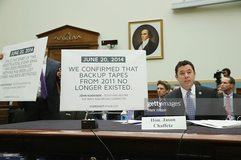 Rep. <a gi-track='captionPersonalityLinkClicked' href=/galleries/search?phrase=Jason+Chaffetz&family=editorial&specificpeople=5610304 ng-click='$event.stopPropagation()'>Jason Chaffetz</a> (R-UT), testifies during a House Judiciary Committee hearing on Capitol Hill, May 24, 2016 in Washington, DC. The committee was examining the allegations of misconduct against IRS Commissioner John Koskinen.