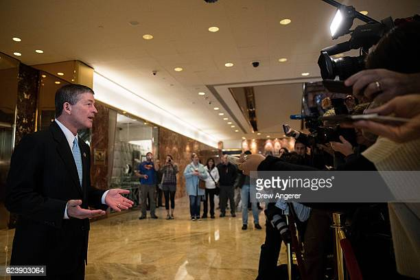 Rep Jeb Hensarling chairman of the House Financial Services Committee speaks to the press in the lobby at Trump Tower November 17 2016 in New York...