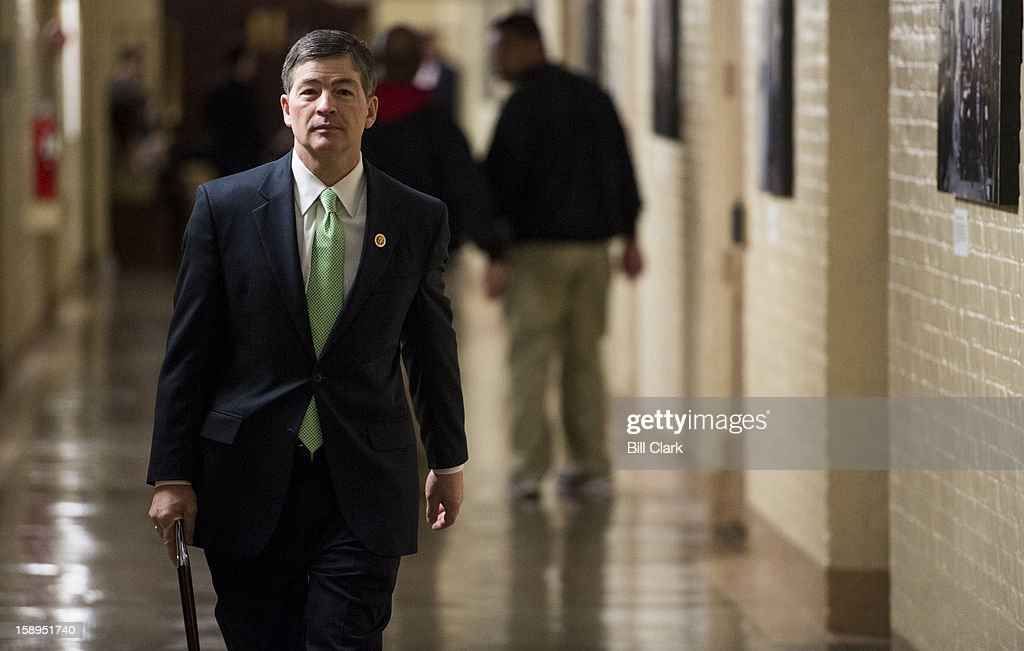 Rep. Jeb Hensarling, R-Texas, leaves the House Republican Conference meeting on Friday, Jan. 4, 2013.