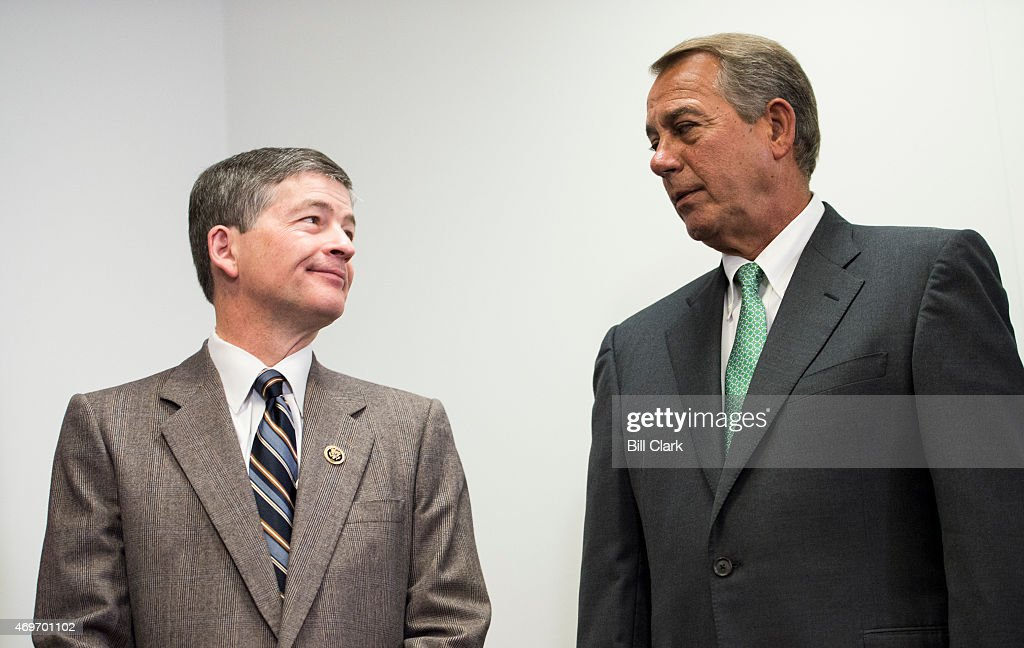 Rep. <a gi-track='captionPersonalityLinkClicked' href=/galleries/search?phrase=Jeb+Hensarling&family=editorial&specificpeople=4367462 ng-click='$event.stopPropagation()'>Jeb Hensarling</a>, R-Texas, left, and Speaker of the House <a gi-track='captionPersonalityLinkClicked' href=/galleries/search?phrase=John+Boehner&family=editorial&specificpeople=274752 ng-click='$event.stopPropagation()'>John Boehner</a>, R-Ohio, listen as other House GOP leaders speak to reporters following the House Republican Conference meeting in the Capitol on Tuesday, April 14, 2015.