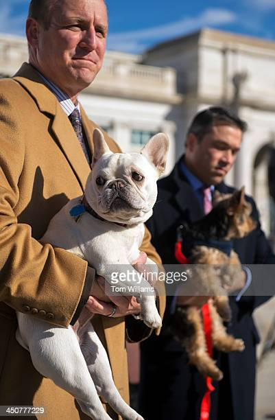 Rep Jeff Denham RCalif left with his dog Lily and Rep Michael Grimm RNY with his dog Sebastian attend an event outside of Union Station to support...