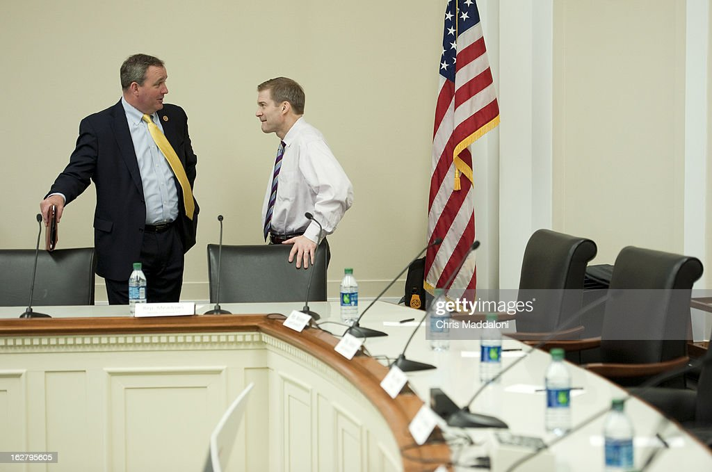 Rep. Jeff Duncan, R-S.C.; and Rep. Jim Jordan, R-Ohio, speak before the monthly discussion, 'Conversations with Conservatives,' on the 'most important issues of the day with traditional press and bloggers.