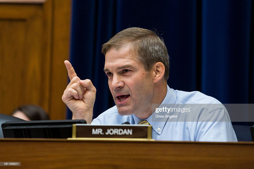Rep. Jim Jordan (R-OH) questions witnesses during a House Oversight Committee hearing entitled 'Reviews of the Benghazi Attack and Unanswered Questions,' in the Rayburn House Office Building on Capitol Hill, September 19, 2013 in Washington, DC. Committee Chairman Darrell Issa (R-CA) is continuing to lead the GOP investigation of the Sept. 11, 2012, assaults that killed U.S. Ambassador J. Christopher Stevens and three other Americans at the U.S. Consulate in Benghazi, Libya.