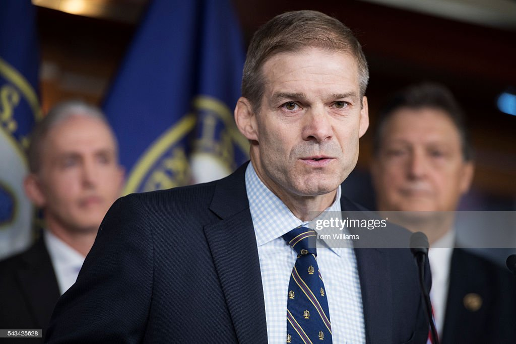 Rep. Jim Jordan, R-Ohio, speaks during a news conference in the Capitol Visitor Center, June 28, 2016, to announce the Select Committee on Benghazi report on the 2012 attacks in Libya that killed four Americans. Chairman Trey Gowdy, R-S.C., left, and Lynn Westmoreland, R-Ga., also appear.