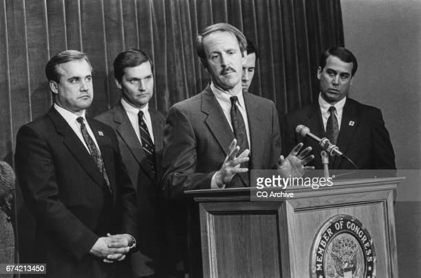 Rep Jim Nussle RIowa Rep John Doolittle Rep Frank Riggs RCalif Rep Rick Santorum RPa and Rep John Boehner ROhio at a press conference following an...