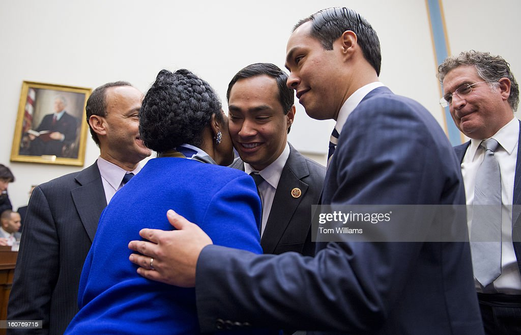 Rep Joaquin Castro DTexas center greets Rep Sheila Jackson Lee DCalif a his his brother Julian Castro mayor of San Antonio looks on before a House...