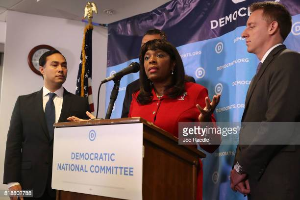 Rep Joaquin Castro Rep Terri Sewell and Jason Kander president of Let America Vote attend a press conference held at the Democratic National...