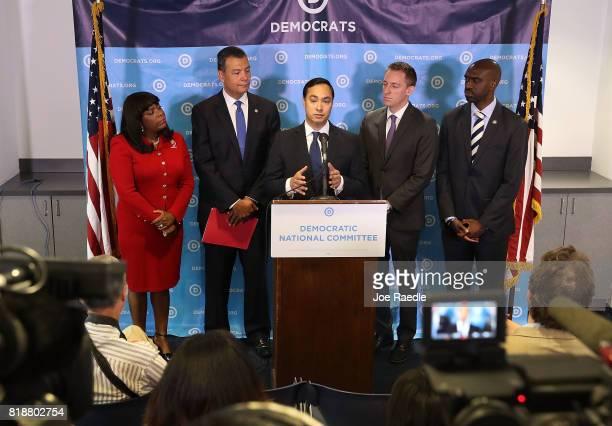 Rep Joaquin Castro speaks as Rep Terri Sewell California Secretary of State Alex Padilla Jason Kander president of Let America Vote and DNC Vice...