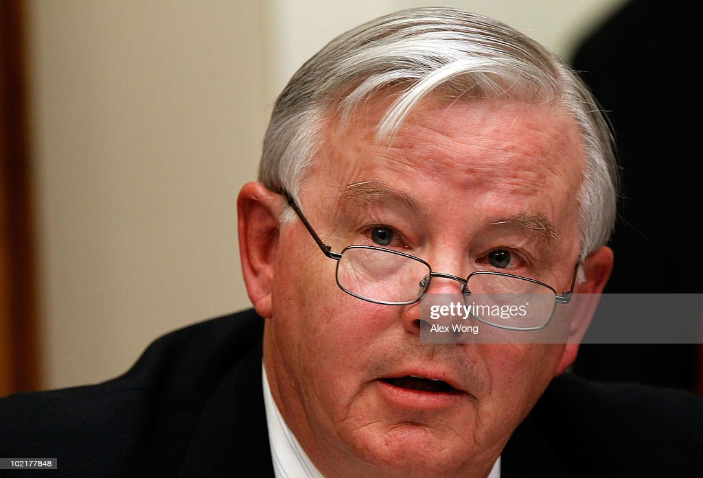 Rep. <a gi-track='captionPersonalityLinkClicked' href=/galleries/search?phrase=Joe+Barton&family=editorial&specificpeople=653902 ng-click='$event.stopPropagation()'>Joe Barton</a> (R-TX) questions BP Chief Executive Tony Hayward during a hearing of the Oversight and Investigations Subcommittee on 'The Role Of BP In The Deepwater Horizon Explosion And Oil Spill' June 17, 2010 in Washington, DC. BP agreed yesterday to place $20 billion into an escrow account managed by a third party to pay out claims resulting from the oil spill and also said it will not pay out additional dividends to shareholders for the remainder of the year.