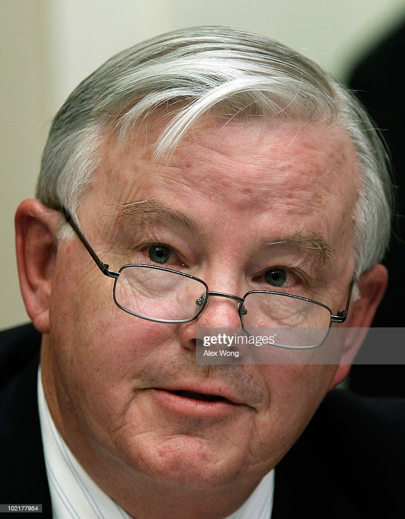 U.S. Rep. <a gi-track='captionPersonalityLinkClicked' href=/galleries/search?phrase=Joe+Barton&family=editorial&specificpeople=653902 ng-click='$event.stopPropagation()'>Joe Barton</a> (R-TX) questions BP Chief Executive Tony Hayward during a hearing of the Oversight and Investigations Subcommittee on 'The Role Of BP In The Deepwater Horizon Explosion And Oil Spill' June 17, 2010 in Washington, DC. BP agreed yesterday to place $20 billion into an escrow account managed by a third party to pay out claims resulting from the oil spill and also said it will not pay out additional dividends to shareholders for the remainder of the year.> on June 17, 2010 in Washington, DC.