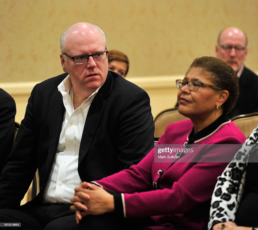 Rep. Joe Crowley and Rep. Karen Bass during The 55th Annual GRAMMY Awards - Congressional Briefing held at The Beverly Hilton Hotel on February 9, 2013 in Beverly Hills, California.
