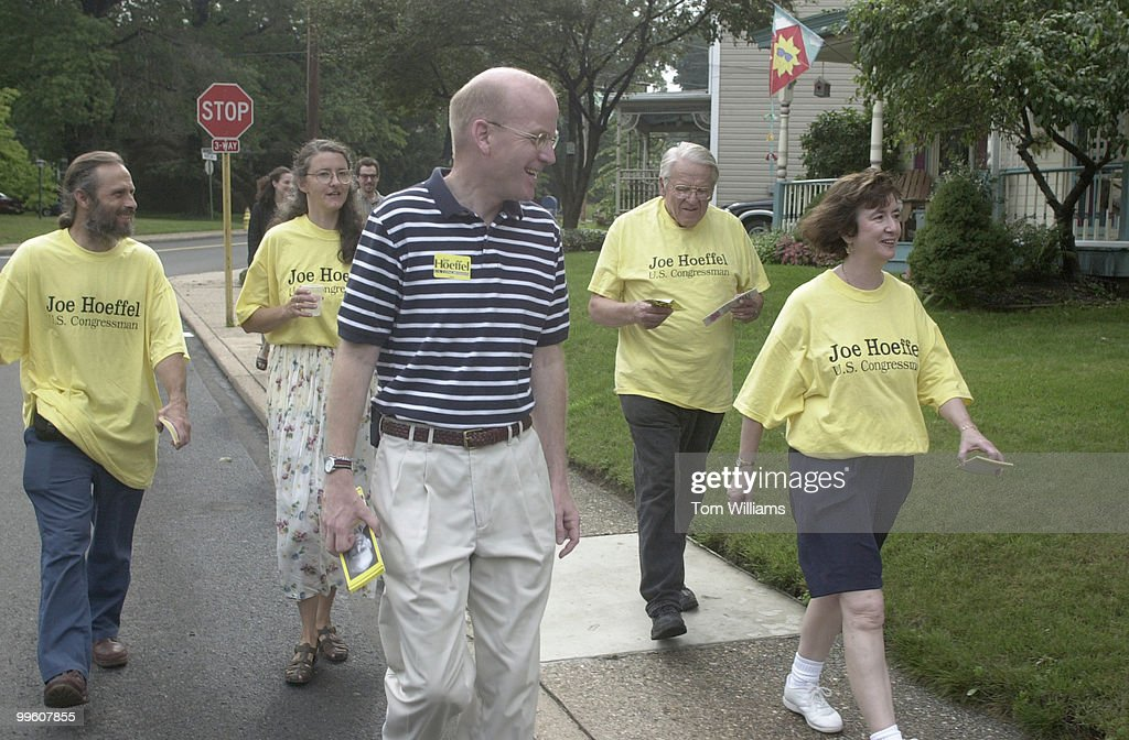 Rep Joe Hoeffel meets with some town people at the home of Jack and Kullie Miller in Hatboro PA before a walking campaign of the district