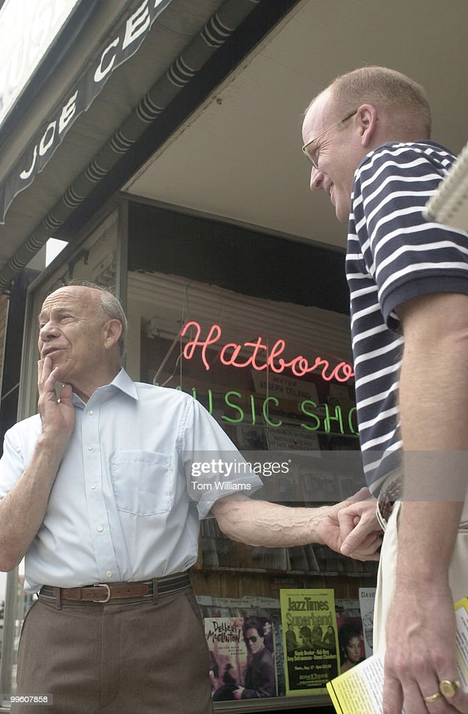 Rep Joe Hoeffel talks to the mayor of Hatboro PA Joe Celano during a walking campaign of the district