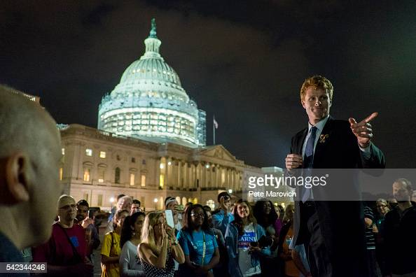 Rep Joe Kennedy III speaks to supporters of House Democrats taking part in a sitin on the House Chamber outside the US Capitol on June 23 2016 in...