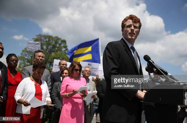 S Rep Joe Kennedy speaks during a press conference condemning the new ban on transgendered servicemembers on July 26 2017 in Washington DC US Rep Joe...