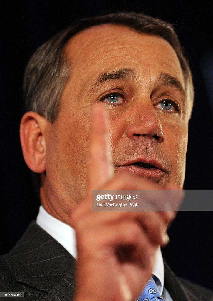 Rep John Boehner fights back tears as he delivers a short victory address to Republicans celebrating at a reception on election night November 2010...