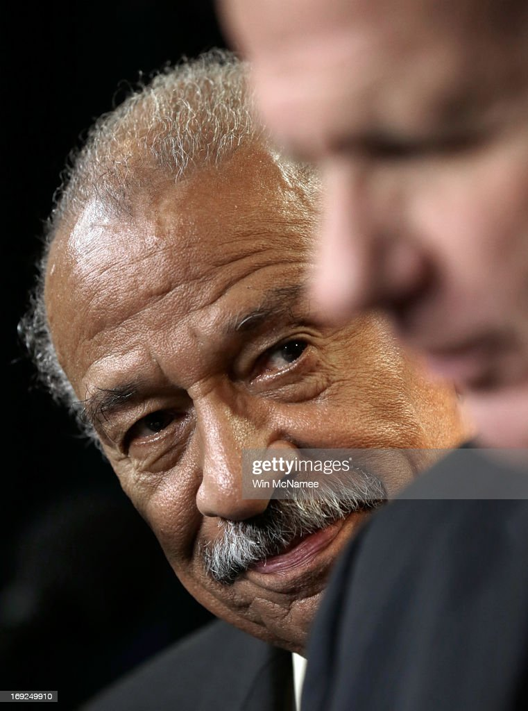 Rep. <a gi-track='captionPersonalityLinkClicked' href=/galleries/search?phrase=John+Conyers&family=editorial&specificpeople=217823 ng-click='$event.stopPropagation()'>John Conyers</a> (D-MI) (L) and Rep. Ted Poe (R-TX) (R) hold a news conference on H.R.1962, the 'Free Flow of Information Act of 2013', May 22, 2013 in Washington, DC. The bill would protect reporters from having to reveal their sources in federal court, with some exceptions including specific threats to national security.