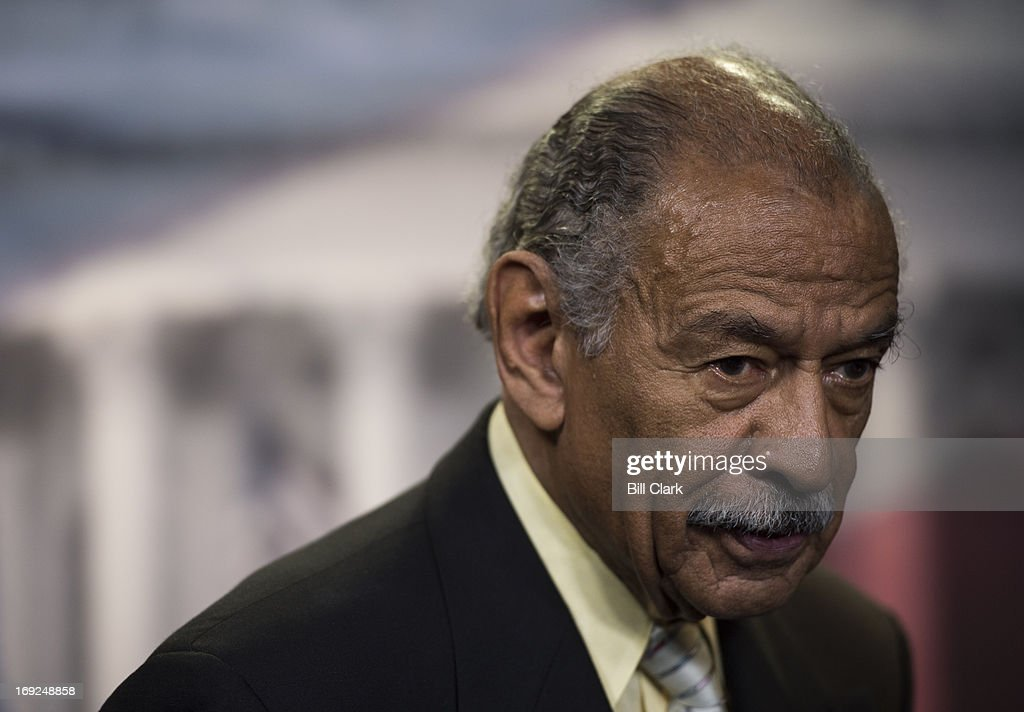 Rep. John Conyers, Jr., D-Mich., participates in the news conference at the Capitol to introduce H.R.1962, the 'Free Flow of Information Act of 2013' on Wednesday, May 22, 2013. The legislation would 'increase protections for members of the media by providing a qualified privilege that prevents a reporter's source material from being revealed to government investigators except under narrow circumstances, such as where necessary to prevent an act of terrorism or other significant and specified harm to national security.'