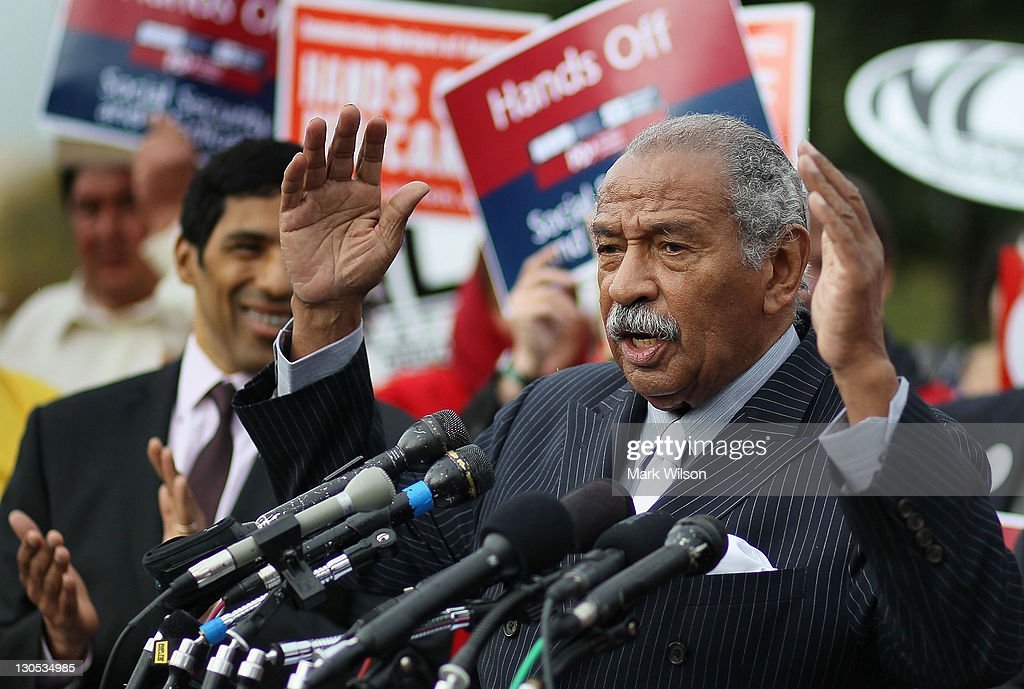 U.S. Rep. <a gi-track='captionPersonalityLinkClicked' href=/galleries/search?phrase=John+Conyers&family=editorial&specificpeople=217823 ng-click='$event.stopPropagation()'>John Conyers</a> (D-MI) speaks during a news conference at the U.S. Capitol October 26, 2011 in Washington, DC. Conyers called on the Joint Deficit Reduction Committee to preserve Medicare, Medicaid, and Social Security benefits when making their decision on cutting the deficit.