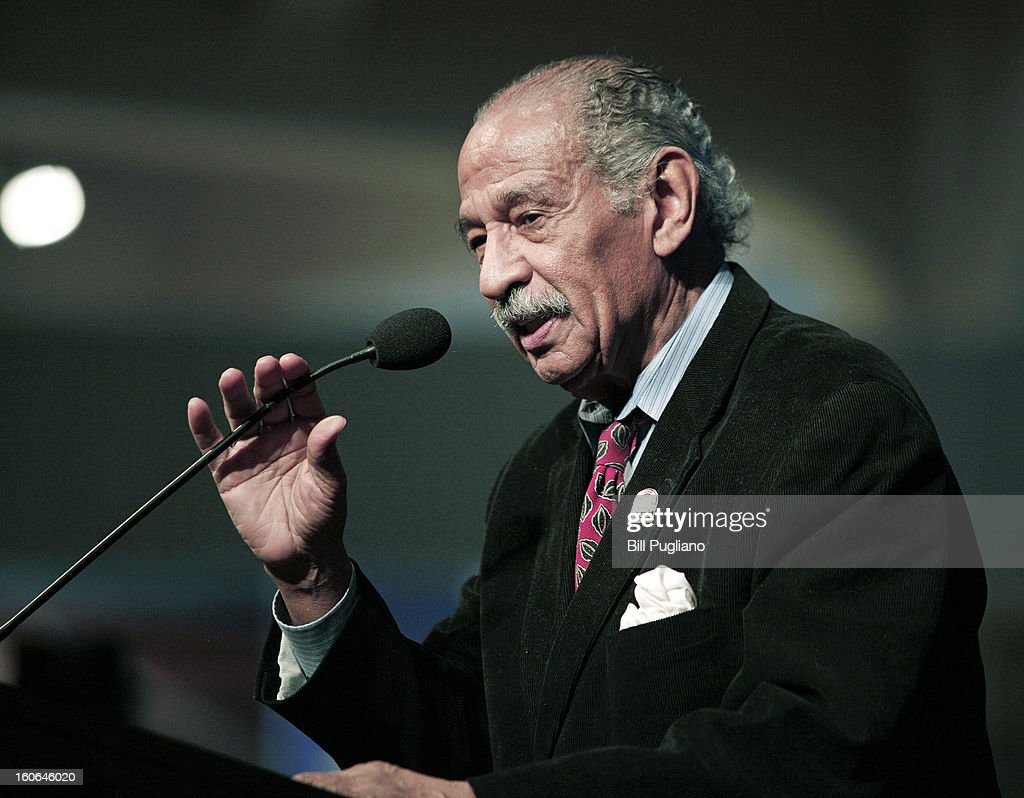 U.S. Rep. <a gi-track='captionPersonalityLinkClicked' href=/galleries/search?phrase=John+Conyers&family=editorial&specificpeople=217823 ng-click='$event.stopPropagation()'>John Conyers</a> (D-MI) speaks during the unveiling of the new Rosa Parks stamp, a commemorative stamp issued by the U.S. Postal Service honoring civil rights icon, February 4, 2013 at The Henry Ford in Dearborn, Michigan. The stamp went on sale February 4, 2013, what would have been Rosa Park's 100th birthday.