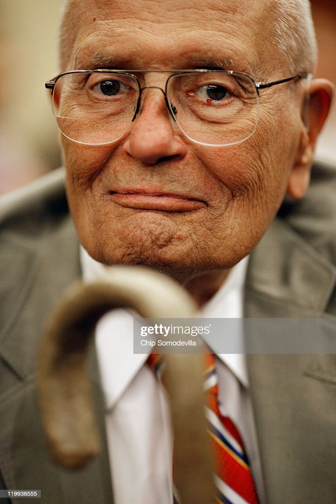 U.S. Rep. John Dingell (D-MI) participates in a news conference and rally to mark the 46th anniversary of the passage of Medicare in the U.S. Capitol Visitors Center July 27, 2011 in Washington, DC. The longest currently-serving member of Congress, Dingell wielded the gavel during that historic session of the House of Representatives in 1965.